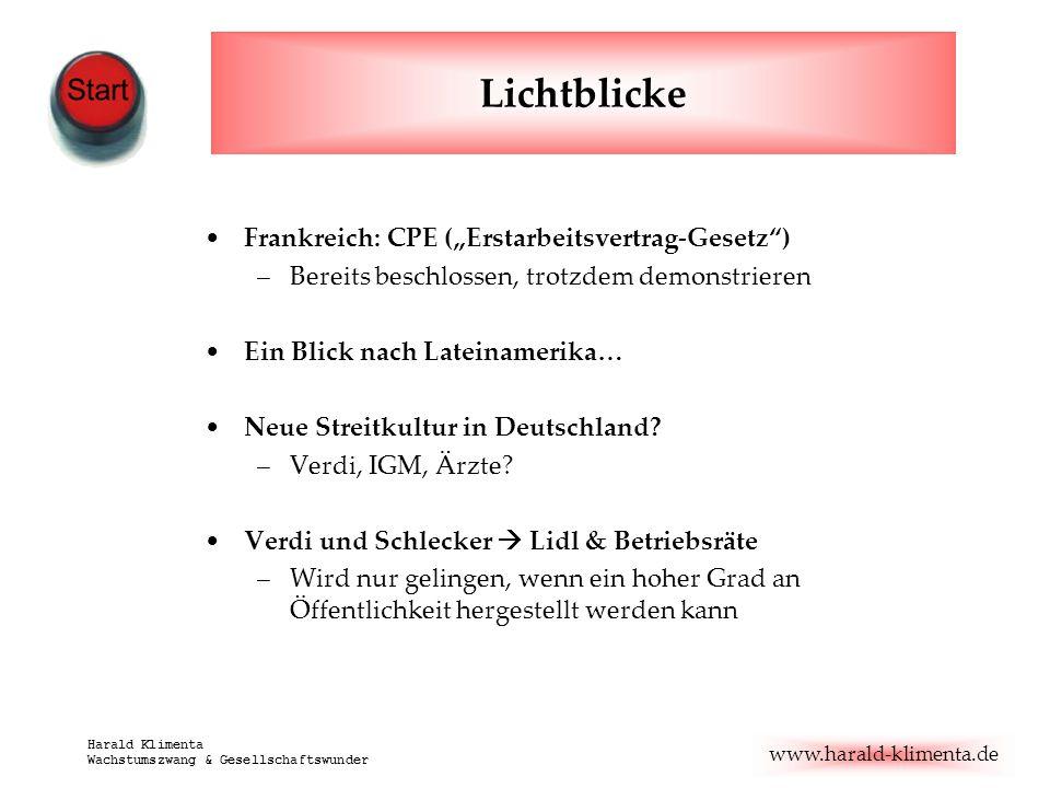 """www.harald-klimenta.de Harald Klimenta Wachstumszwang & Gesellschaftswunder Lichtblicke Frankreich: CPE (""""Erstarbeitsvertrag-Gesetz"""") –Bereits beschlo"""