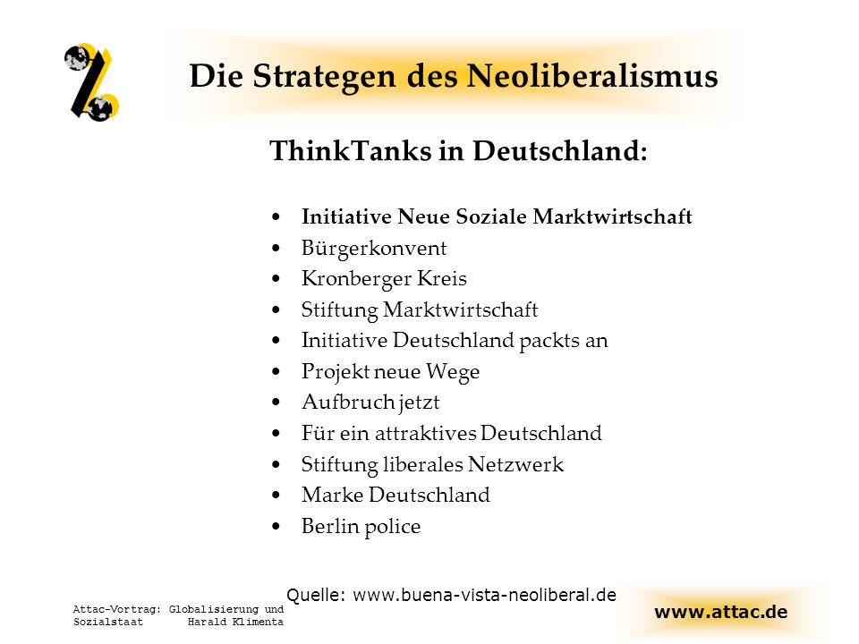 www.attac.de Attac-Vortrag: Globalisierung und Sozialstaat Harald Klimenta Die Strategen des Neoliberalismus ThinkTanks in Deutschland: Initiative Neu