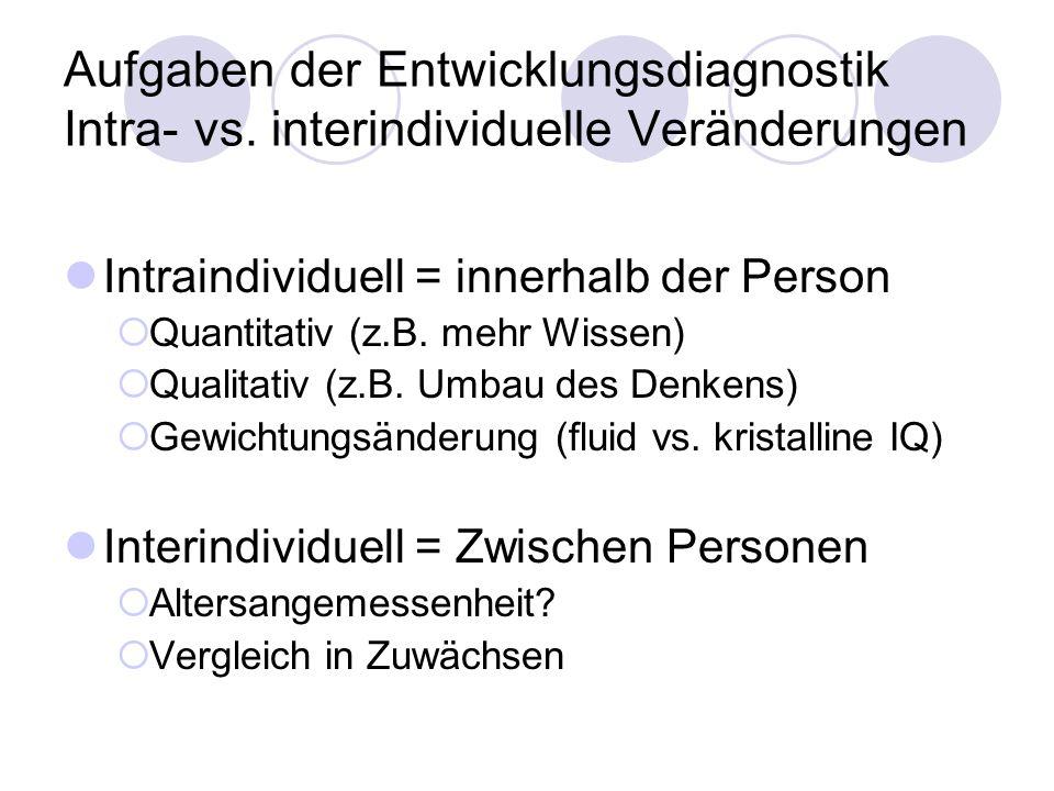 Aufgaben der Entwicklungsdiagnostik Intra- vs. interindividuelle Veränderungen Intraindividuell = innerhalb der Person  Quantitativ (z.B. mehr Wissen