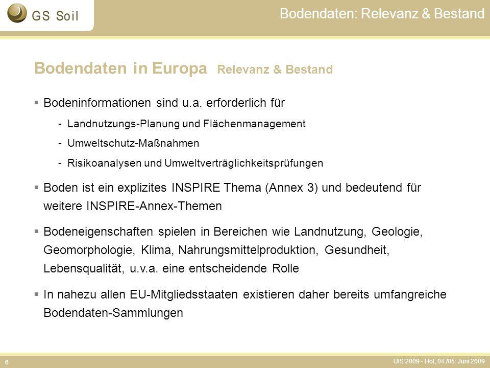UIS 2009 - Hof, 04./05. Juni 2009 6 Bodendaten: Relevanz & Bestand Bodendaten in Europa Relevanz & Bestand  Bodeninformationen sind u.a. erforderlich