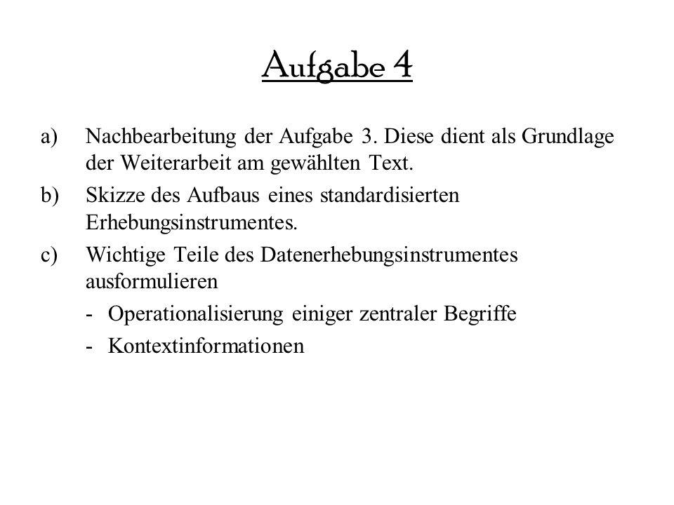 Aufgabe 4 a)Nachbearbeitung der Aufgabe 3.