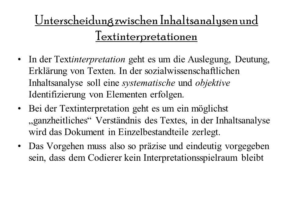 Unterscheidung zwischen Inhaltsanalysen und Textinterpretationen In der Textinterpretation geht es um die Auslegung, Deutung, Erklärung von Texten.