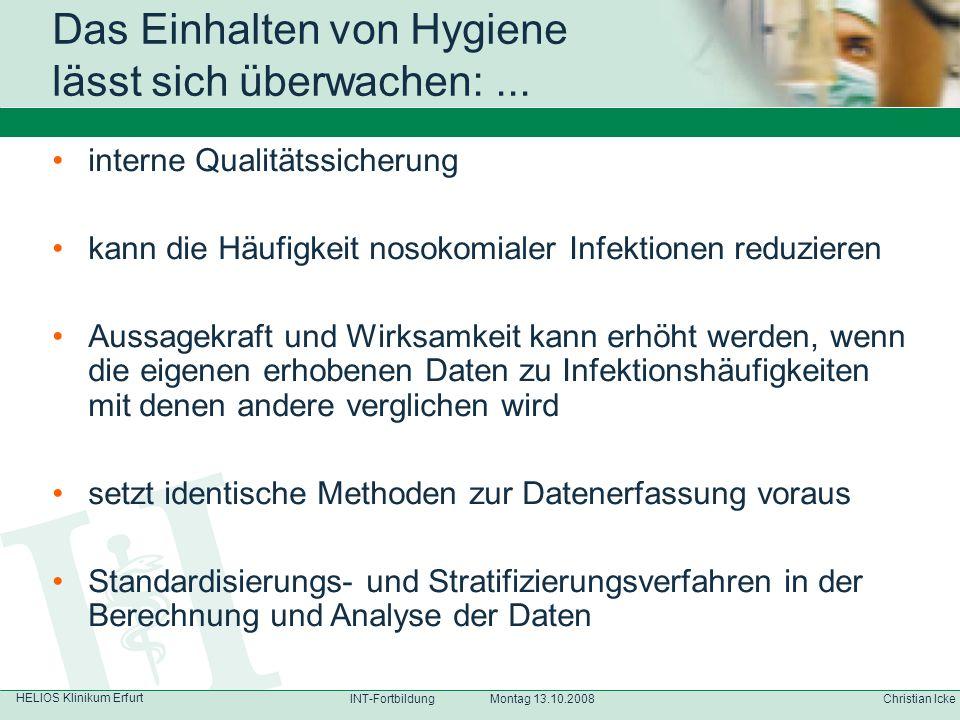 HELIOS Klinikum Erfurt Christian IckeINT-Fortbildung Montag 13.10.2008 interne Qualitätssicherung kann die Häufigkeit nosokomialer Infektionen reduzie