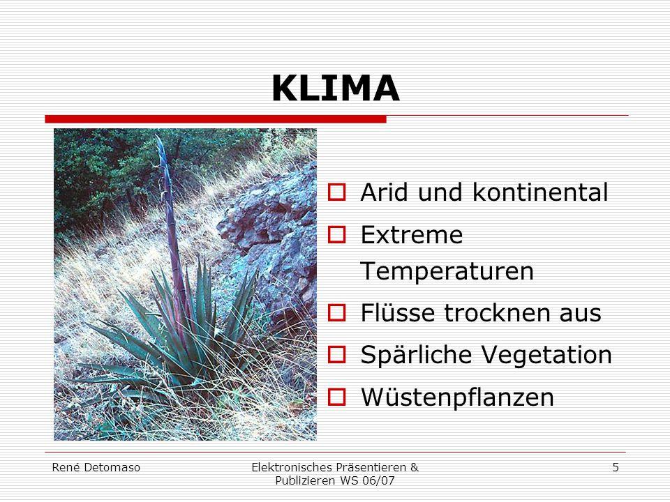 René DetomasoElektronisches Präsentieren & Publizieren WS 06/07 5 KLIMA  Arid und kontinental  Extreme Temperaturen  Flüsse trocknen aus  Spärlich