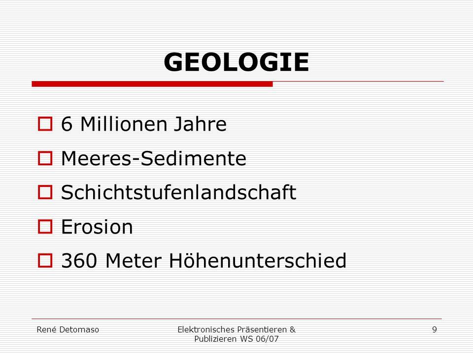 René DetomasoElektronisches Präsentieren & Publizieren WS 06/07 9 GEOLOGIE  6 Millionen Jahre  Meeres-Sedimente  Schichtstufenlandschaft  Erosion