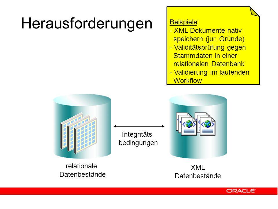 Herausforderungen relationale Datenbestände Integritäts- bedingungen XML Datenbestände Beispiele: - XML Dokumente nativ speichern (jur.