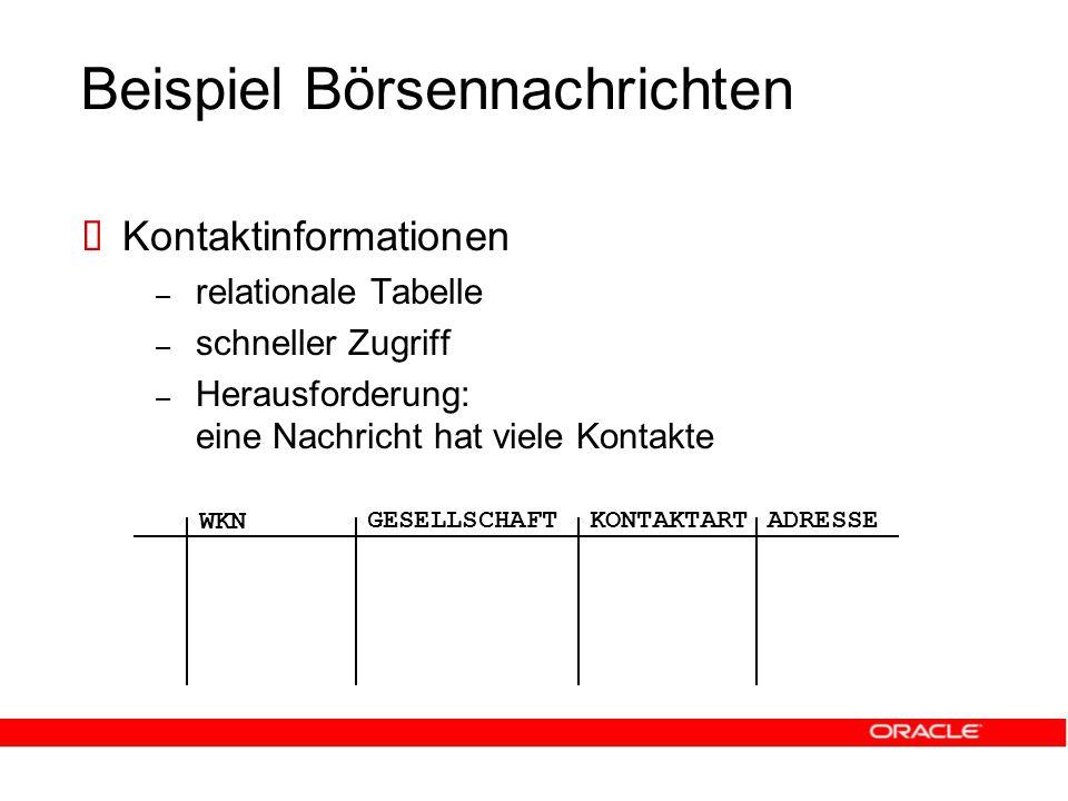 Beispiel Börsennachrichten  Kontaktinformationen – relationale Tabelle – schneller Zugriff – Herausforderung: eine Nachricht hat viele Kontakte WKN GESELLSCHAFTKONTAKTARTADRESSE