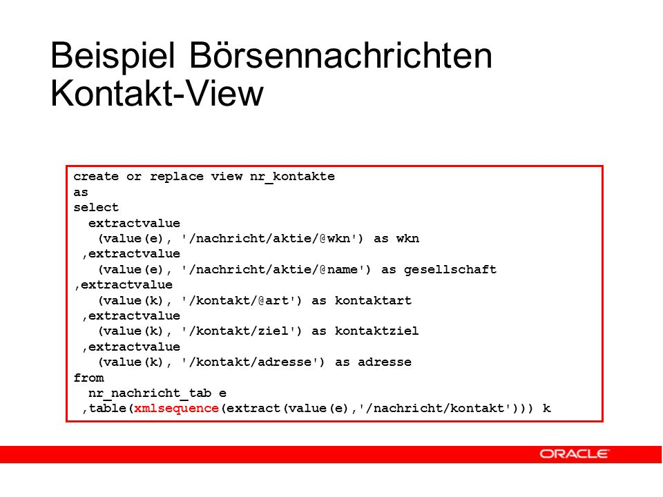 Beispiel Börsennachrichten Kontakt-View create or replace view nr_kontakte as select extractvalue (value(e), ) as wkn,extractvalue (value(e), ) as gesellschaft,extractvalue (value(k), ) as kontaktart,extractvalue (value(k), /kontakt/ziel ) as kontaktziel,extractvalue (value(k), /kontakt/adresse ) as adresse from nr_nachricht_tab e,table(xmlsequence(extract(value(e), /nachricht/kontakt ))) k