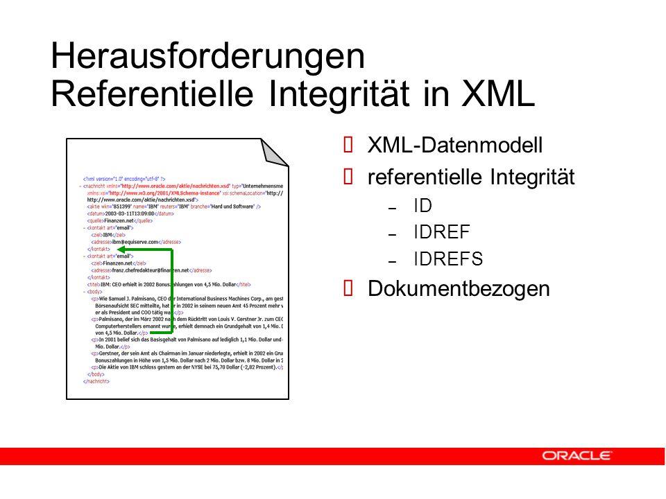 Herausforderungen Referentielle Integrität in XML  XML-Datenmodell  referentielle Integrität – ID – IDREF – IDREFS  Dokumentbezogen