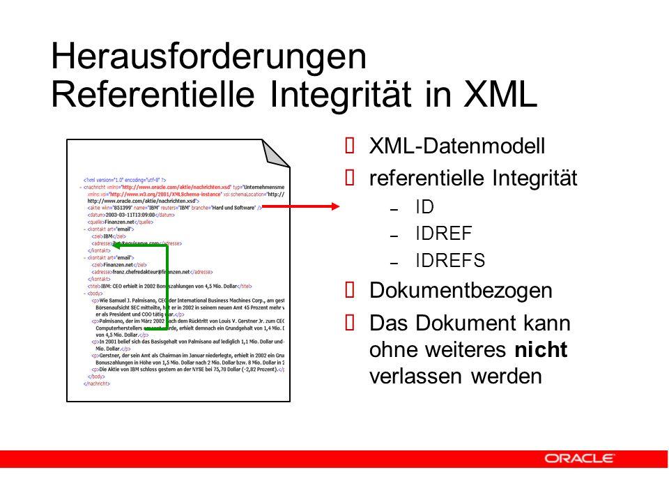 Herausforderungen Referentielle Integrität in XML  XML-Datenmodell  referentielle Integrität – ID – IDREF – IDREFS  Dokumentbezogen  Das Dokument kann ohne weiteres nicht verlassen werden