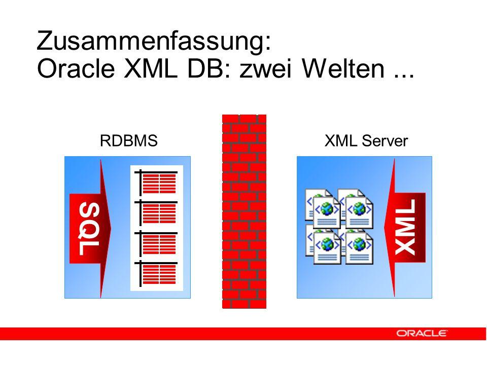 Zusammenfassung: Oracle XML DB: zwei Welten... SQL XML RDBMSXML Server