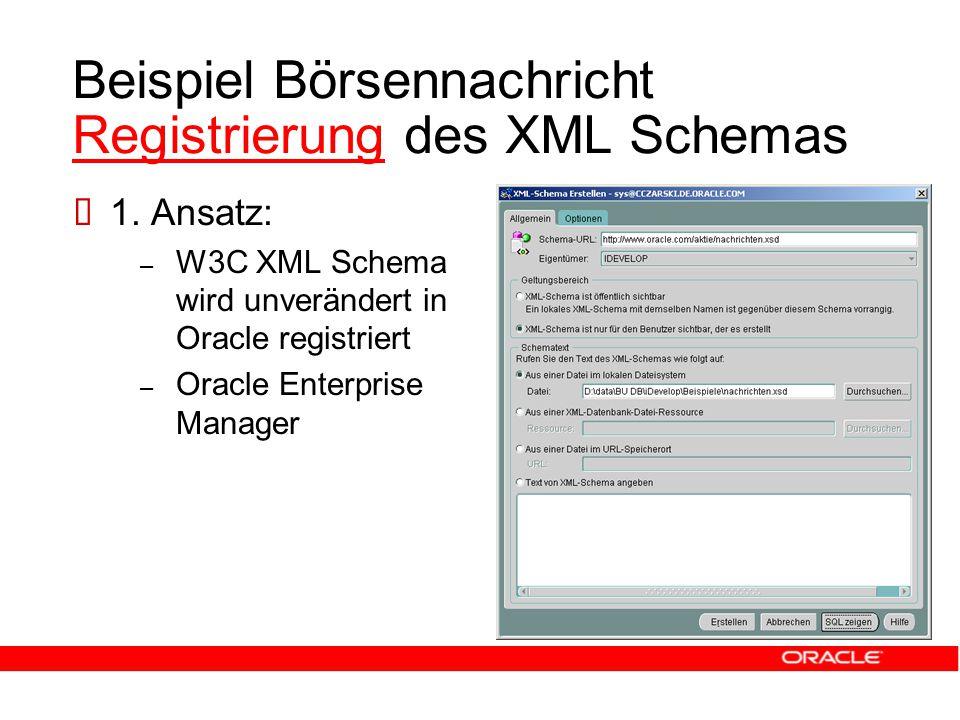 Beispiel Börsennachricht Registrierung des XML Schemas Registrierung  1.