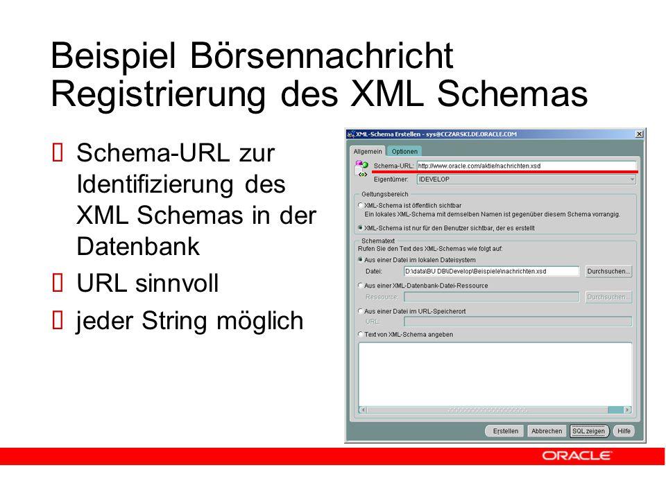 Beispiel Börsennachricht Registrierung des XML Schemas  Schema-URL zur Identifizierung des XML Schemas in der Datenbank  URL sinnvoll  jeder String möglich