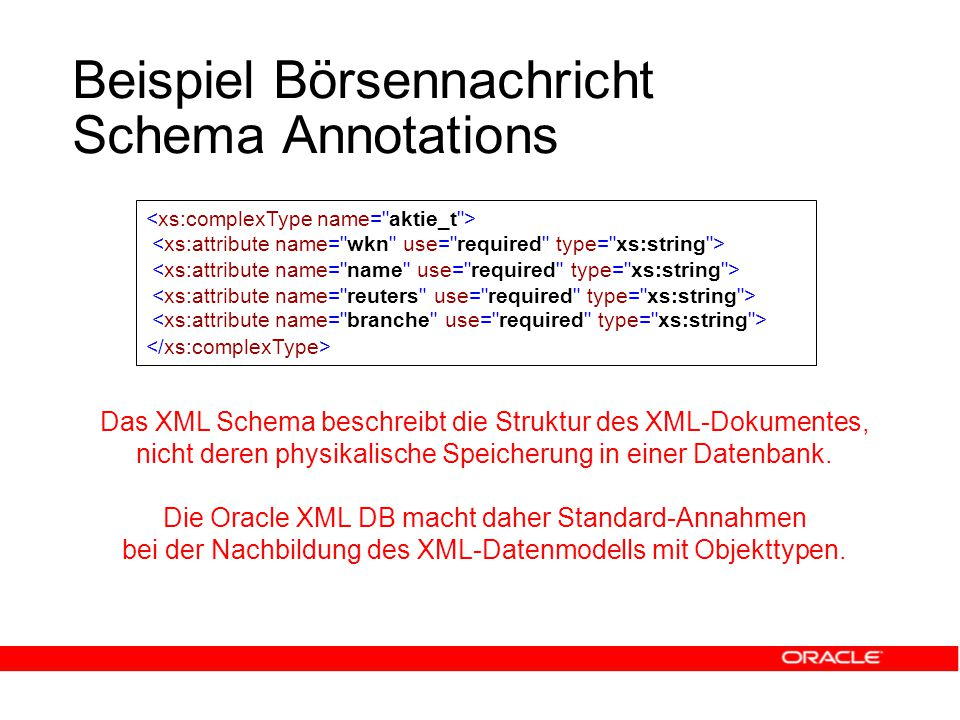 Beispiel Börsennachricht Schema Annotations Das XML Schema beschreibt die Struktur des XML-Dokumentes, nicht deren physikalische Speicherung in einer Datenbank.