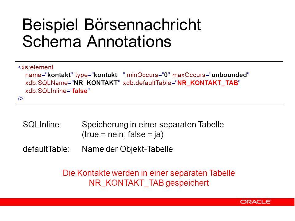 Beispiel Börsennachricht Schema Annotations SQLInline:Speicherung in einer separaten Tabelle (true = nein; false = ja) defaultTable: Name der Objekt-Tabelle Die Kontakte werden in einer separaten Tabelle NR_KONTAKT_TAB gespeichert