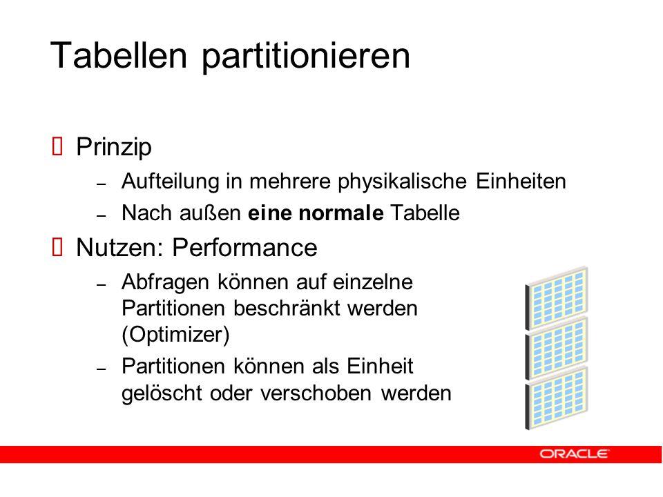 Tabellen partitionieren  Prinzip – Aufteilung in mehrere physikalische Einheiten – Nach außen eine normale Tabelle  Nutzen: Performance – Abfragen können auf einzelne Partitionen beschränkt werden (Optimizer) – Partitionen können als Einheit gelöscht oder verschoben werden