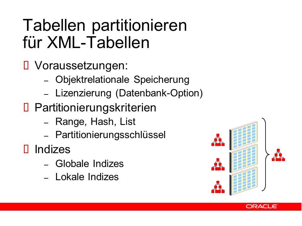Tabellen partitionieren für XML-Tabellen  Voraussetzungen: – Objektrelationale Speicherung – Lizenzierung (Datenbank-Option)  Partitionierungskriterien – Range, Hash, List – Partitionierungsschlüssel  Indizes – Globale Indizes – Lokale Indizes