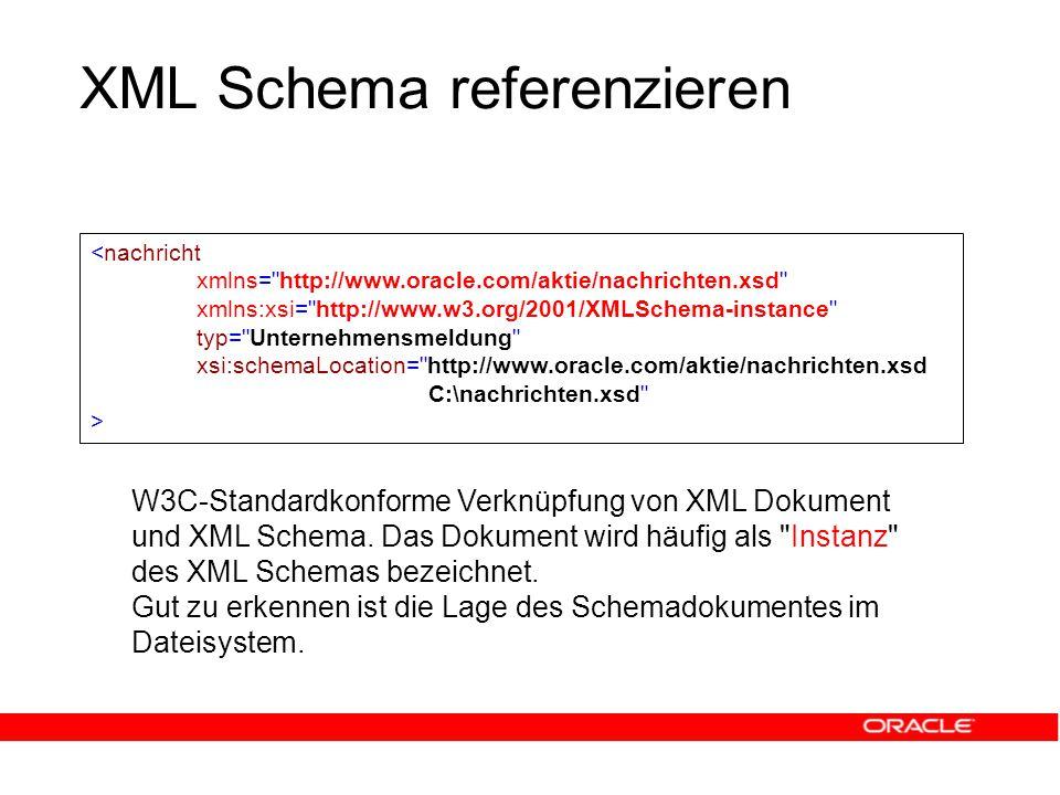 XML Schema referenzieren W3C-Standardkonforme Verknüpfung von XML Dokument und XML Schema.