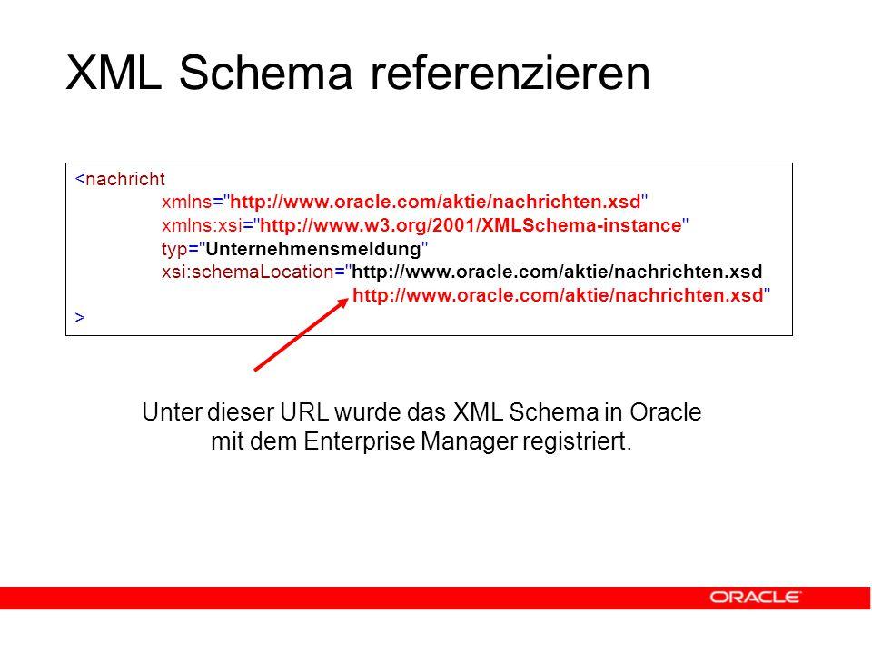 XML Schema referenzieren Unter dieser URL wurde das XML Schema in Oracle mit dem Enterprise Manager registriert.