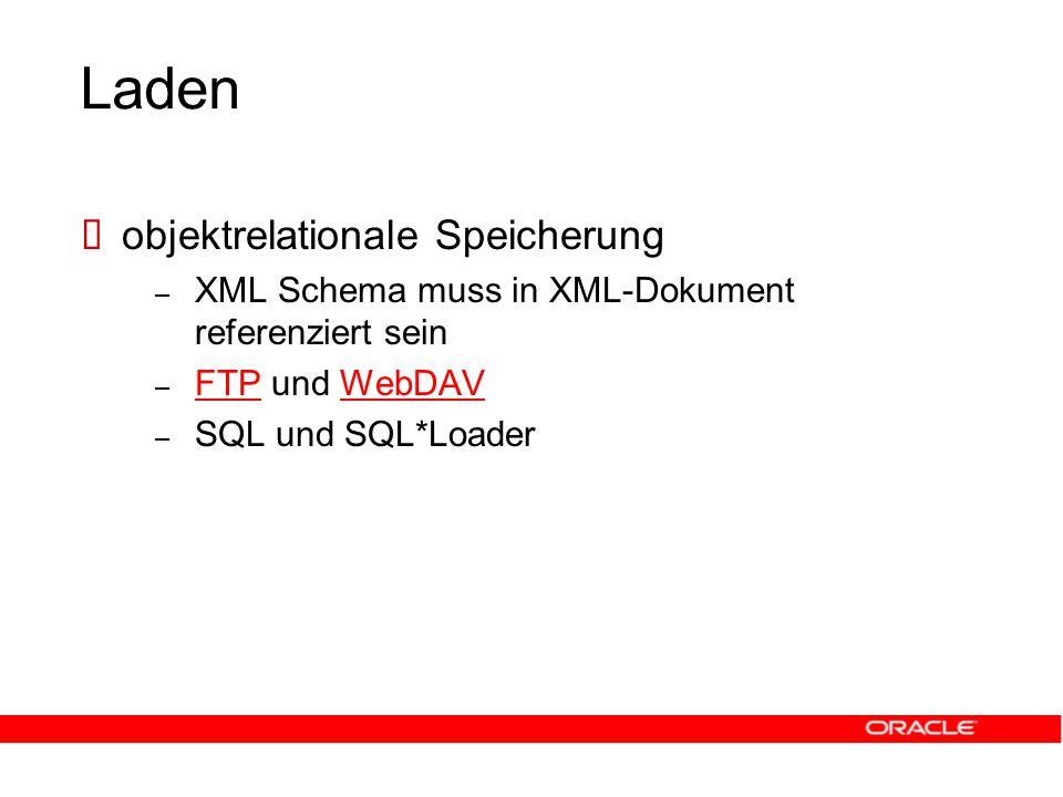 Laden  objektrelationale Speicherung – XML Schema muss in XML-Dokument referenziert sein – FTP und WebDAV FTPWebDAV – SQL und SQL*Loader