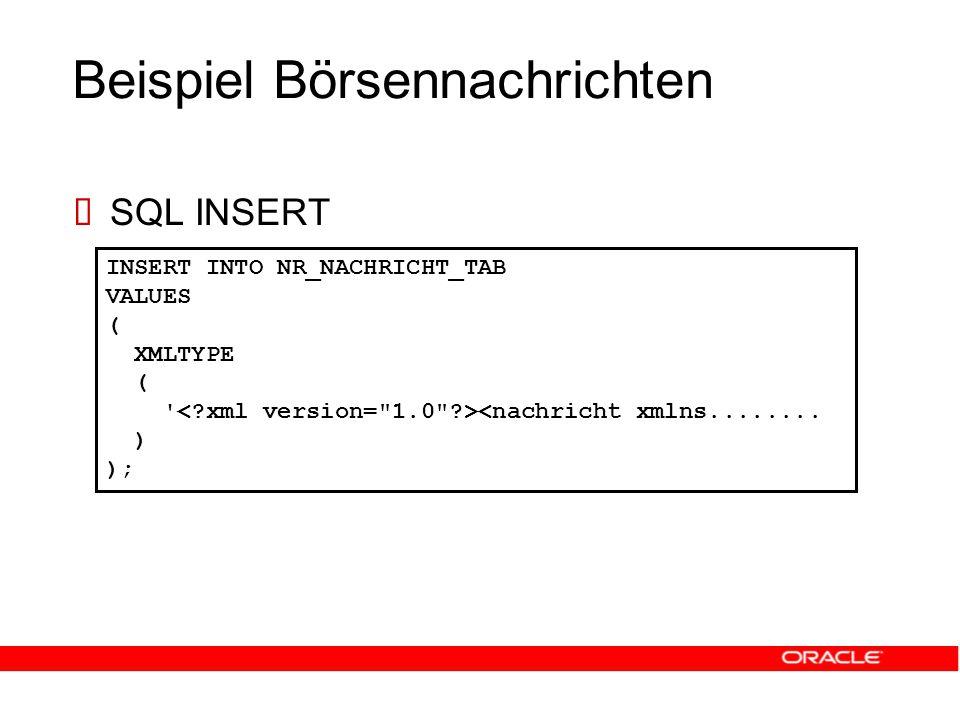 Beispiel Börsennachrichten  SQL INSERT INSERT INTO NR_NACHRICHT_TAB VALUES ( XMLTYPE ( <nachricht xmlns........