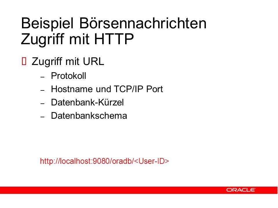 Beispiel Börsennachrichten Zugriff mit HTTP  Zugriff mit URL – Protokoll – Hostname und TCP/IP Port – Datenbank-Kürzel – Datenbankschema http://localhost:9080/oradb/