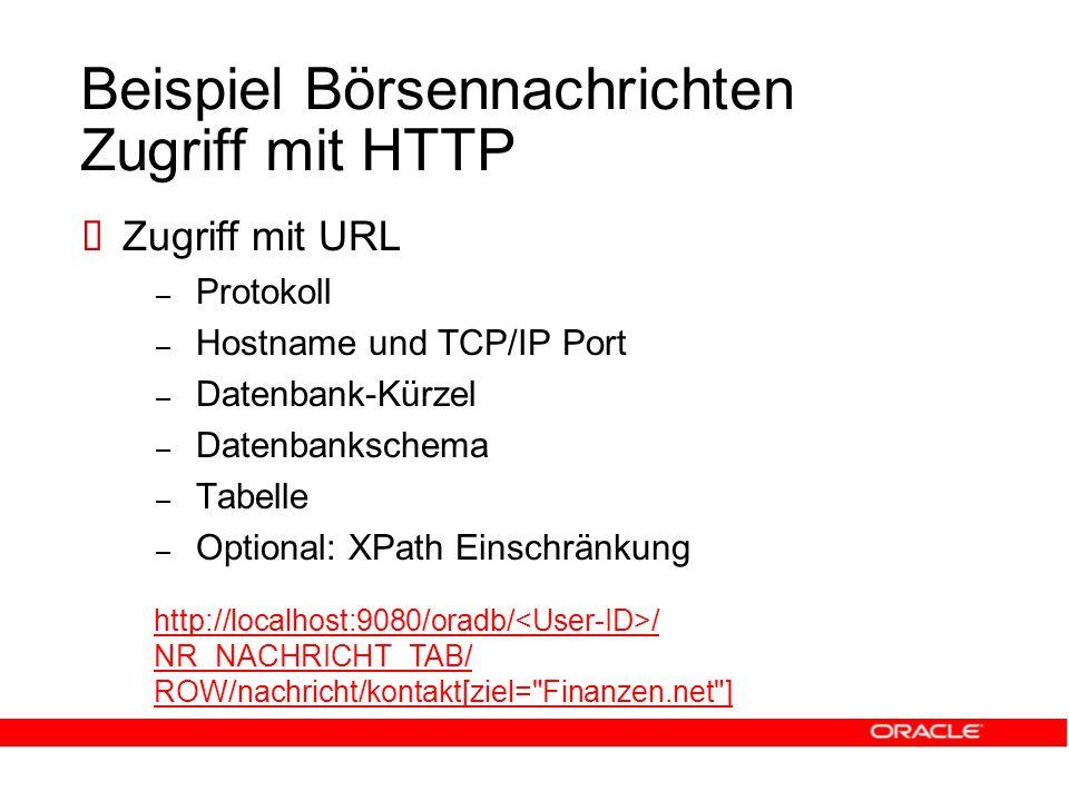Beispiel Börsennachrichten Zugriff mit HTTP  Zugriff mit URL – Protokoll – Hostname und TCP/IP Port – Datenbank-Kürzel – Datenbankschema – Tabelle – Optional: XPath Einschränkung http://localhost:9080/oradb/ / NR_NACHRICHT_TAB/ ROW/nachricht/kontakt[ziel= Finanzen.net ]