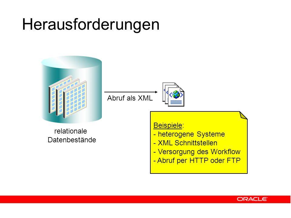 Herausforderungen relationale Datenbestände Abruf als XML Beispiele: - heterogene Systeme - XML Schnittstellen - Versorgung des Workflow - Abruf per HTTP oder FTP