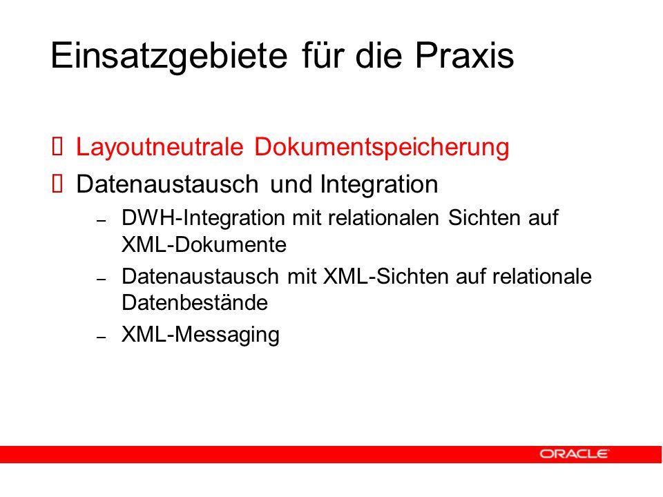 Einsatzgebiete für die Praxis  Layoutneutrale Dokumentspeicherung  Datenaustausch und Integration – DWH-Integration mit relationalen Sichten auf XML-Dokumente – Datenaustausch mit XML-Sichten auf relationale Datenbestände – XML-Messaging