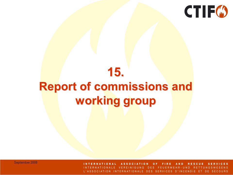 September Report of commissions and working group