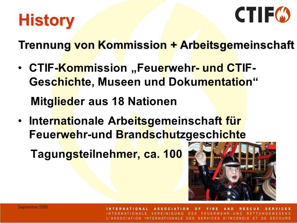 """September 2008 History CTIF-Kommission """"Feuerwehr- und CTIF- Geschichte, Museen und Dokumentation"""" Mitglieder aus 18 Nationen Internationale Arbeitsge"""