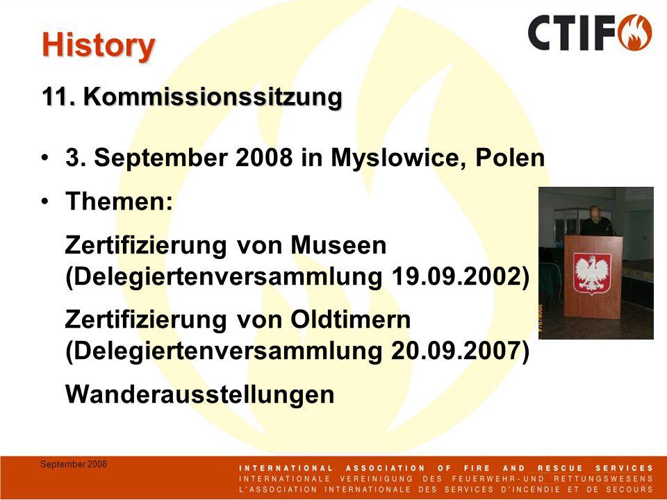 September 2008 3. September 2008 in Myslowice, Polen Themen: Zertifizierung von Museen (Delegiertenversammlung 19.09.2002) Zertifizierung von Oldtimer