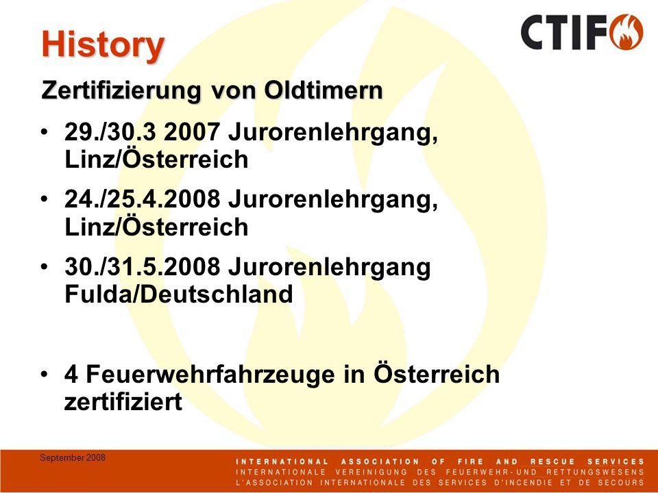 September 2008 History 29./30.3 2007 Jurorenlehrgang, Linz/Österreich 24./25.4.2008 Jurorenlehrgang, Linz/Österreich 30./31.5.2008 Jurorenlehrgang Fulda/Deutschland 4 Feuerwehrfahrzeuge in Österreich zertifiziert Zertifizierung von Oldtimern