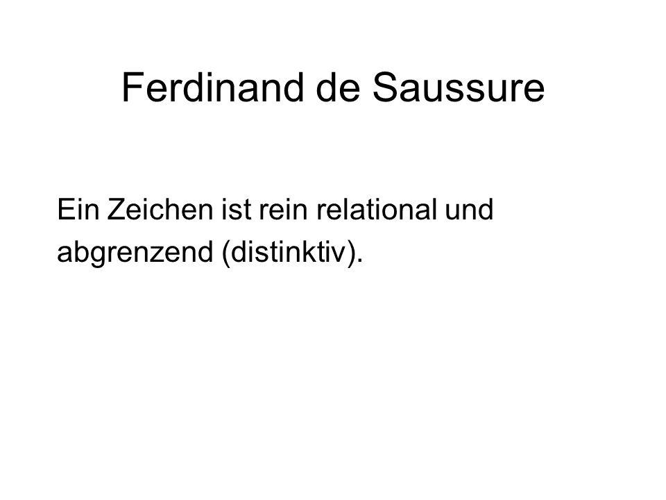 Ferdinand de Saussure Ein Zeichen ist rein relational und abgrenzend (distinktiv).