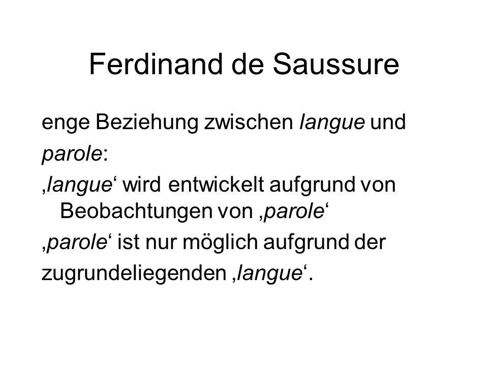 Ferdinand de Saussure enge Beziehung zwischen langue und parole: 'langue' wird entwickelt aufgrund von Beobachtungen von 'parole' 'parole' ist nur mög