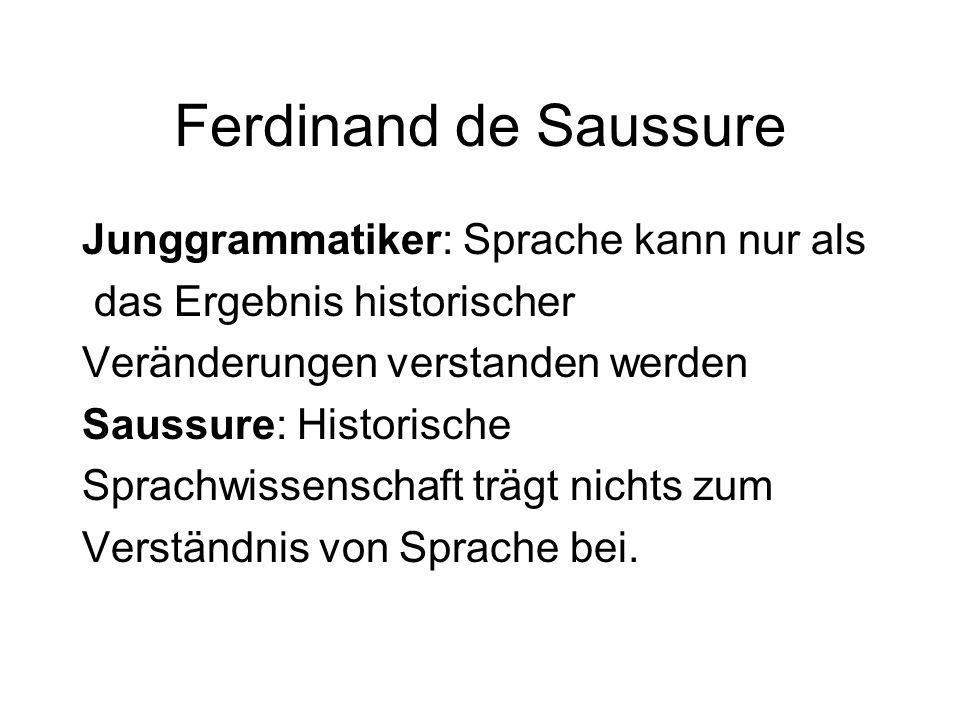 Ferdinand de Saussure Junggrammatiker: Sprache kann nur als das Ergebnis historischer Veränderungen verstanden werden Saussure: Historische Sprachwiss