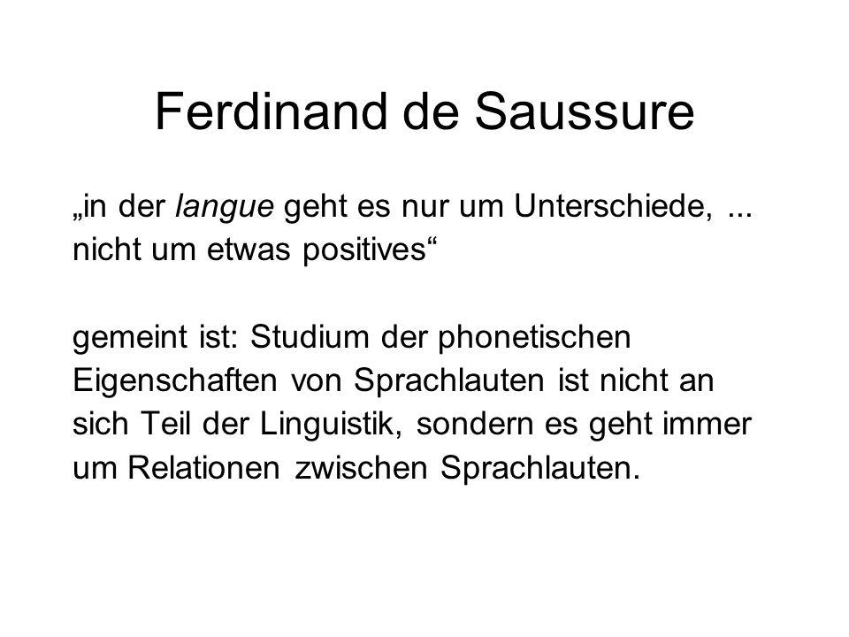 """Ferdinand de Saussure """"in der langue geht es nur um Unterschiede,... nicht um etwas positives"""" gemeint ist: Studium der phonetischen Eigenschaften von"""