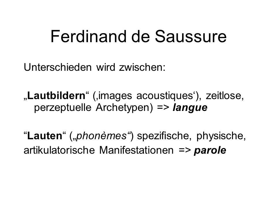 "Ferdinand de Saussure Unterschieden wird zwischen: ""Lautbildern"" ('images acoustiques'), zeitlose, perzeptuelle Archetypen) => langue ""Lauten"" (""phonè"