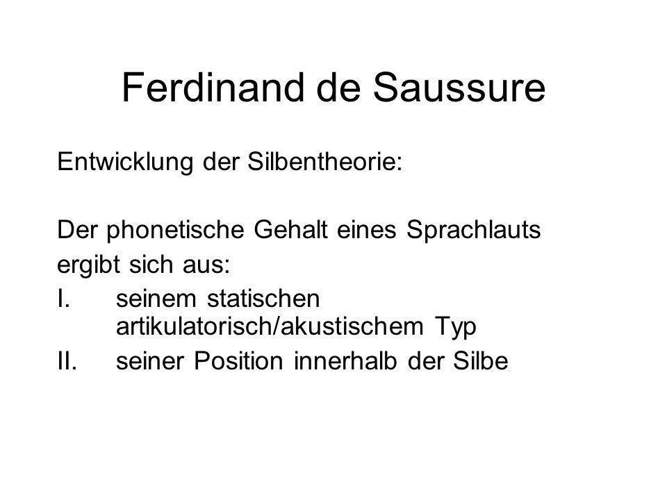 Ferdinand de Saussure Entwicklung der Silbentheorie: Der phonetische Gehalt eines Sprachlauts ergibt sich aus: I.seinem statischen artikulatorisch/aku