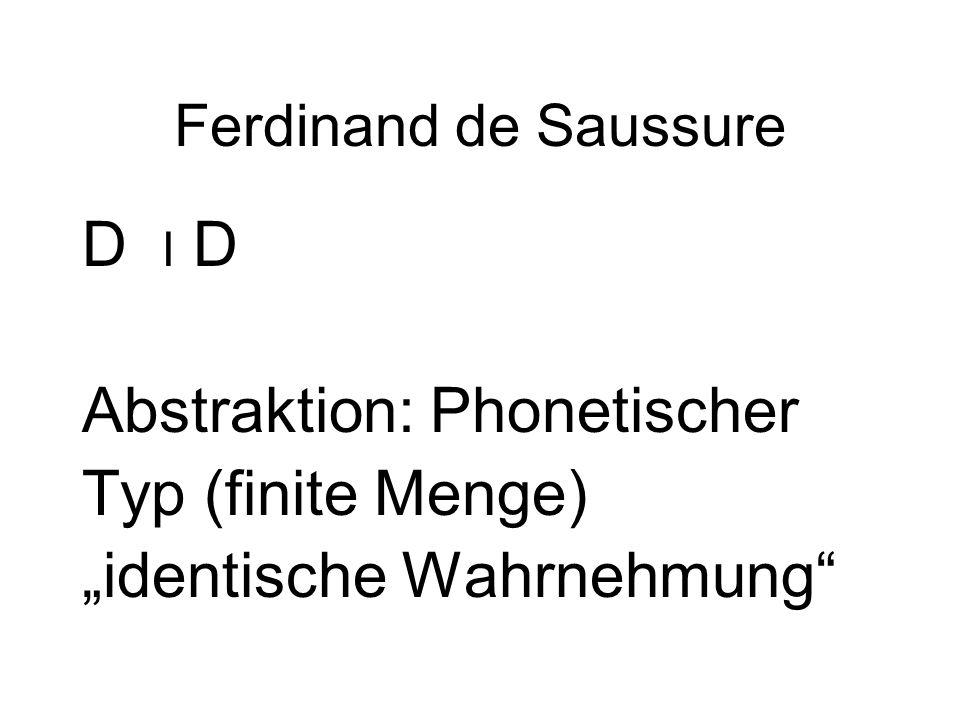 """Ferdinand de Saussure D I D Abstraktion: Phonetischer Typ (finite Menge) """"identische Wahrnehmung"""""""