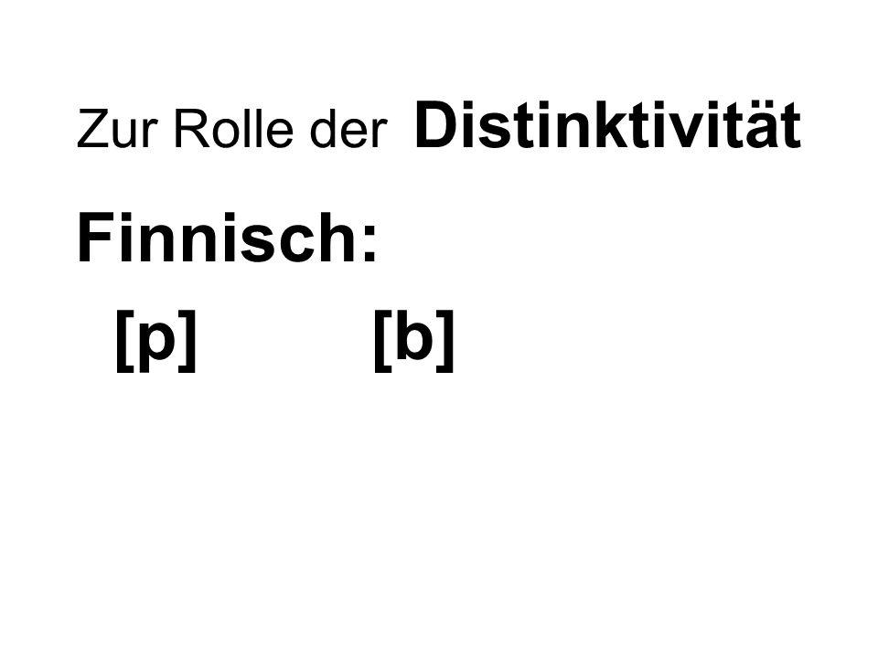 Zur Rolle der Distinktivität Finnisch: [p] [b]