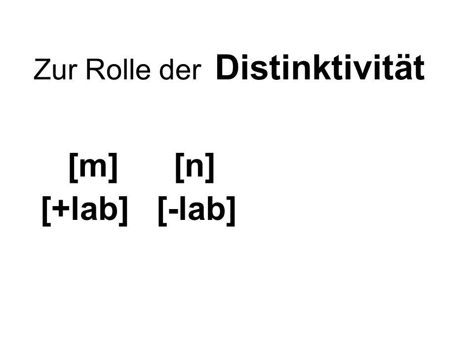 Zur Rolle der Distinktivität [m] [n] [+lab] [-lab]
