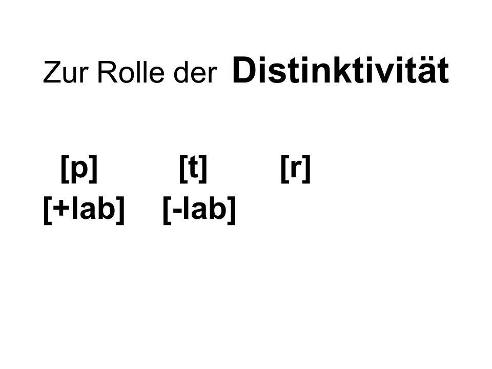Zur Rolle der Distinktivität [p] [t] [r] [+lab] [-lab]