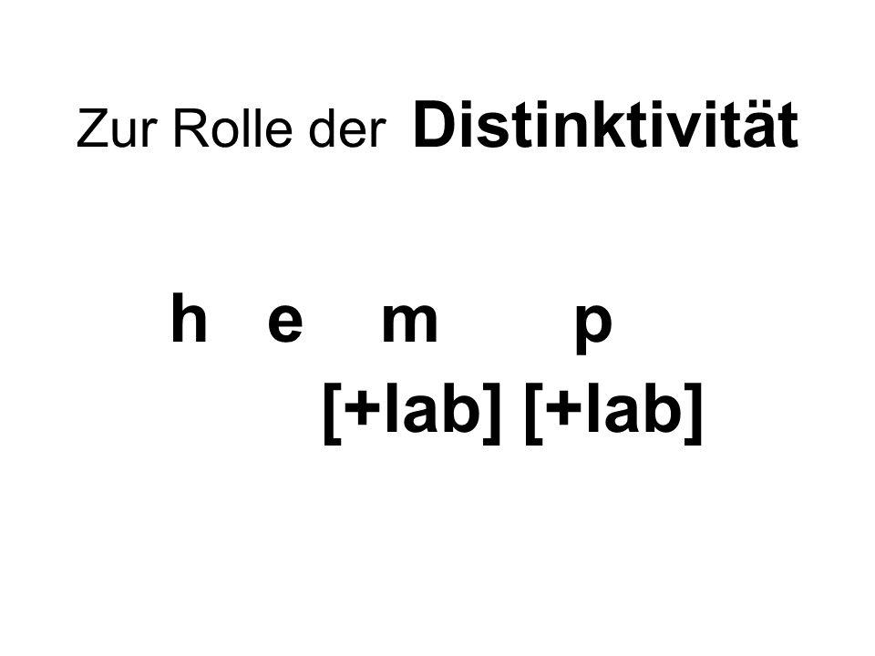Zur Rolle der Distinktivität h e m p [+lab] [+lab]