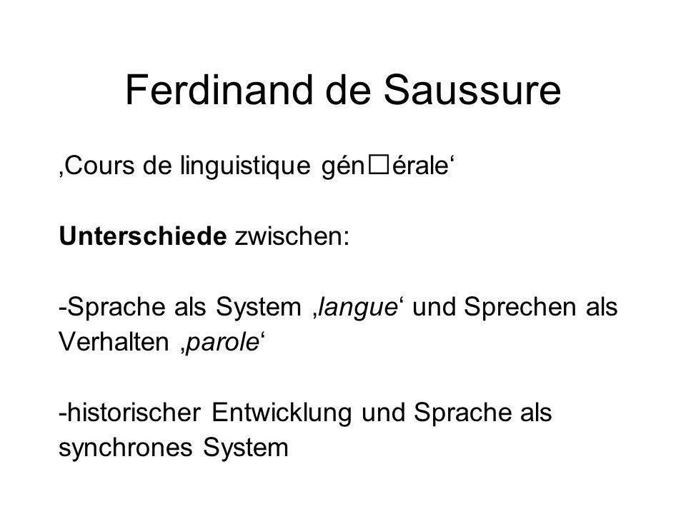 Ferdinand de Saussure Sprache als System 'langue' und Sprechen als Verhalten 'parole' 'langue' : repräsentiert das Wissen um systematische Entsprechungen von Laut und Bedeutung.