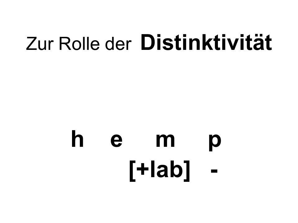 Zur Rolle der Distinktivität h e m p [+lab] -