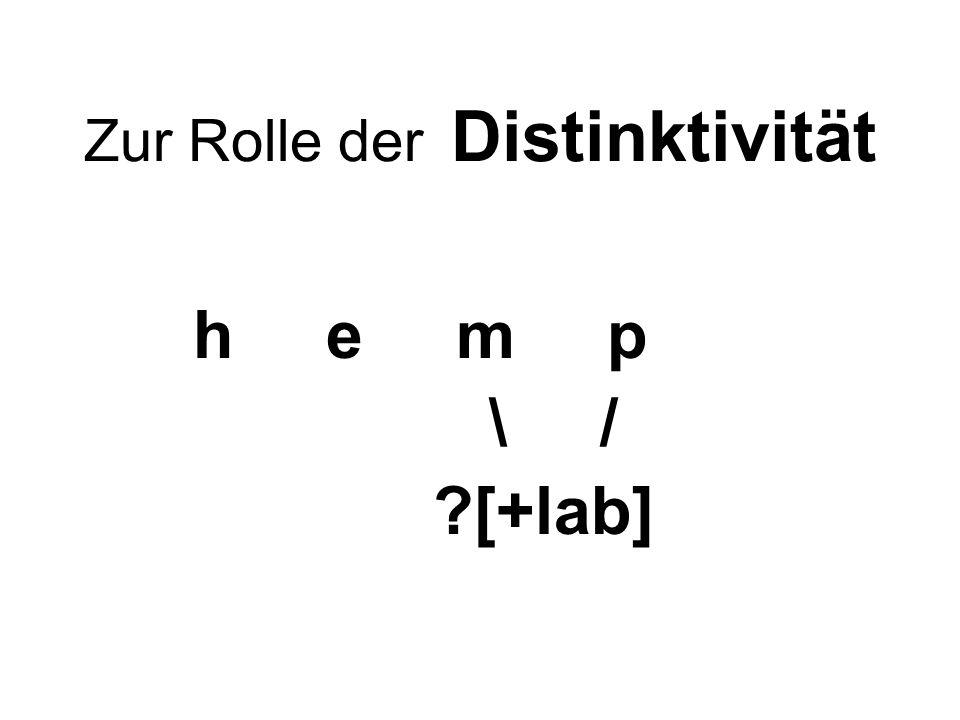 Zur Rolle der Distinktivität h e m p \ / ?[+lab]