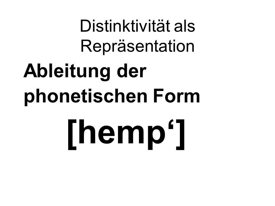 Distinktivität als Repräsentation Ableitung der phonetischen Form [hemp']