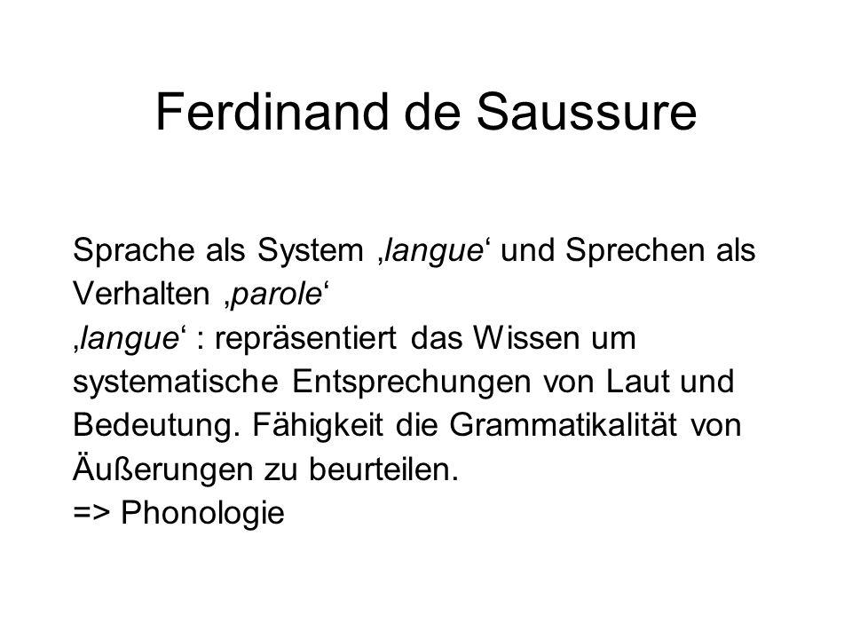 Ferdinand de Saussure Sprache als System 'langue' und Sprechen als Verhalten 'parole' 'langue' : repräsentiert das Wissen um systematische Entsprechun