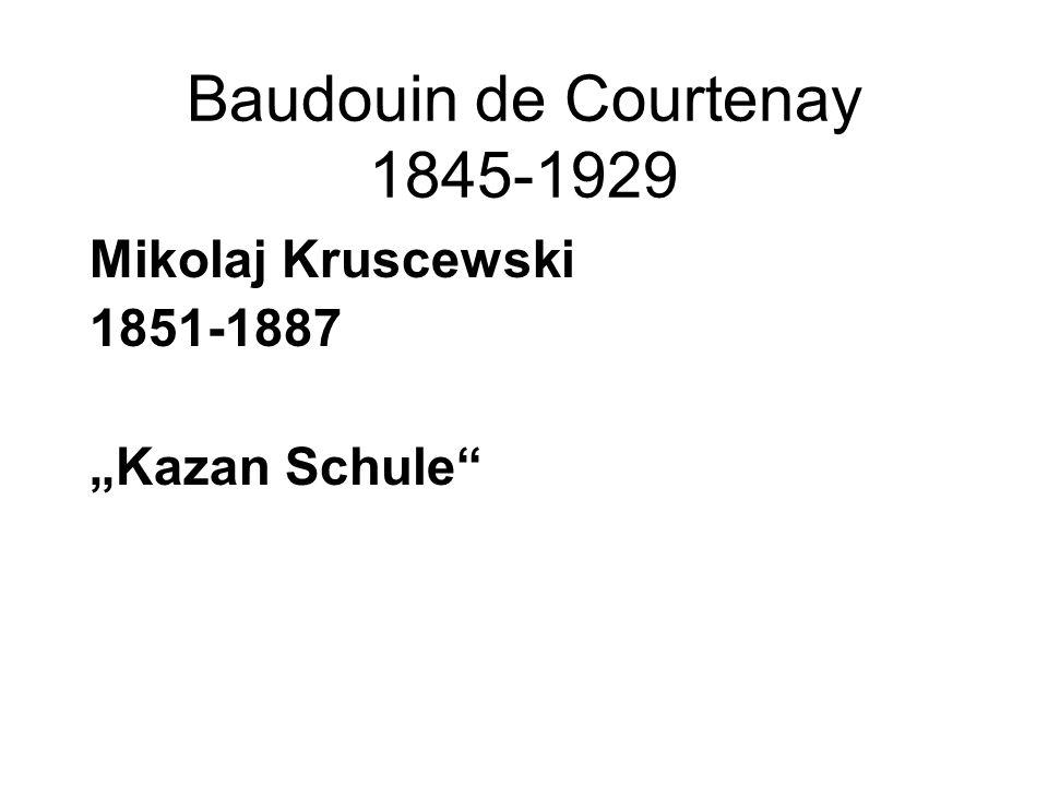 "Baudouin de Courtenay 1845-1929 Mikolaj Kruscewski 1851-1887 ""Kazan Schule"""